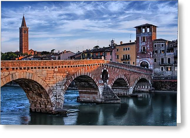 Italian Sunset Greeting Cards - Ponte Pietra Verona Greeting Card by Carol Japp
