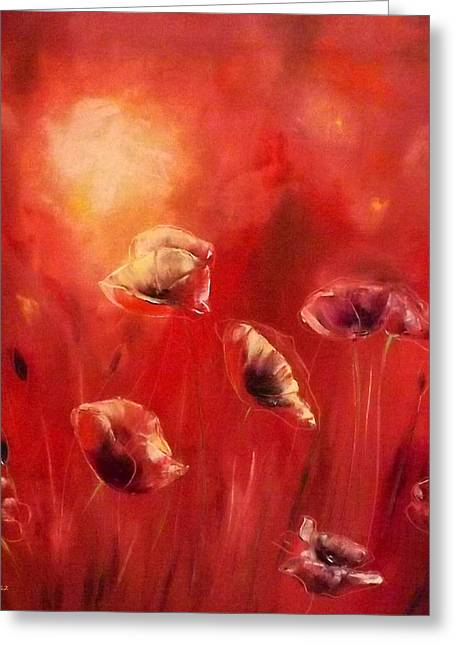 Greeting Cards - Poppies Greeting Card by Gina De Gorna
