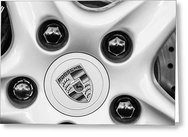 Black And White Image Greeting Cards - Porsche Carrera Wheel Emblem Greeting Card by Jill Reger