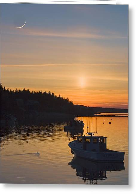 Down East Greeting Cards - Port Clyde Maine Fishing Boats At Sunset Greeting Card by Keith Webber Jr