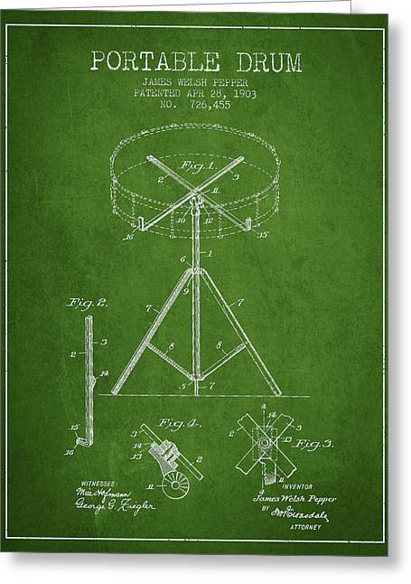 Drum Art Greeting Cards - Portable Drum patent Drawing from 1903 - Green Greeting Card by Aged Pixel