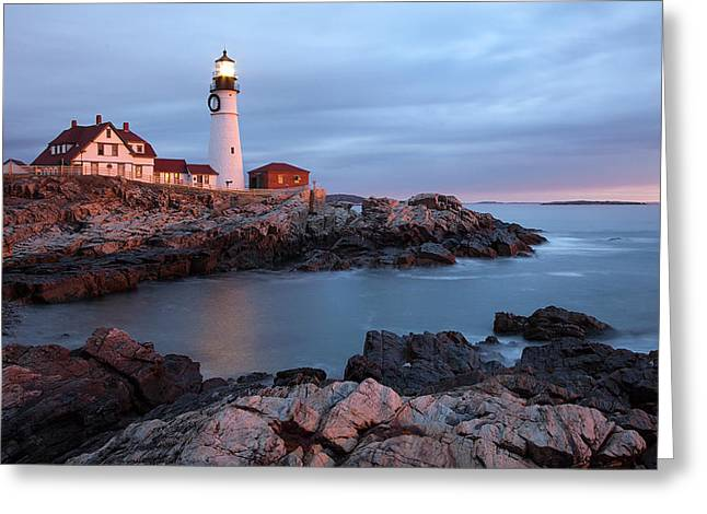 Maine Shore Greeting Cards - Portland Head Light Greeting Card by Patrick Downey