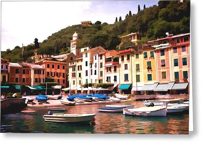 Portofino Italy Digital Greeting Cards - Portofino Harbor 2 Greeting Card by Allen Beatty