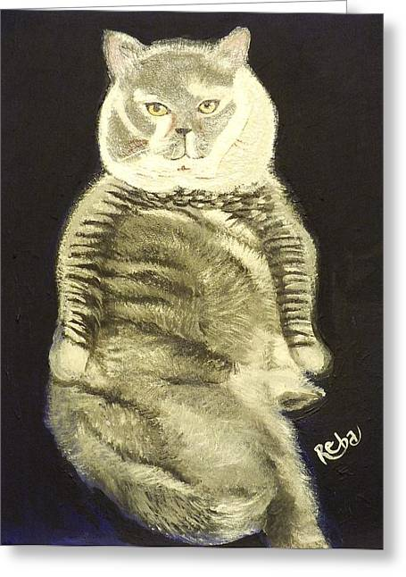 Cats Show Greeting Cards - Portrait of a Fat Cat Greeting Card by Reba Baptist