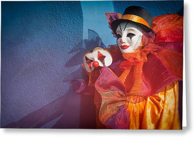 Portrait Of Evil Greeting Cards - Portrait of Clown with Mask by Zina Zinchik Greeting Card by Zina Zinchik
