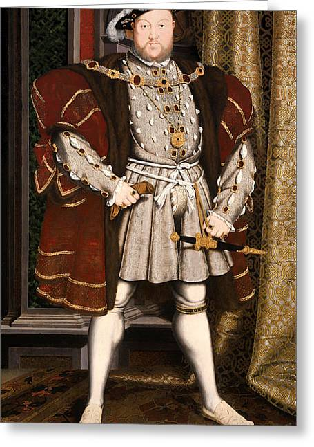 Henry Viii Greeting Cards - Portrait of Henry VIII Greeting Card by Hans Holbein the Younger