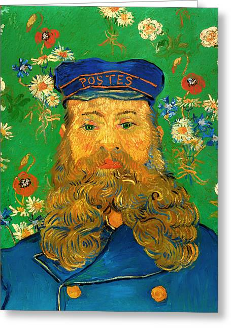 Postal Greeting Cards - Portrait of Joseph Roulin Greeting Card by Vincent van Gogh