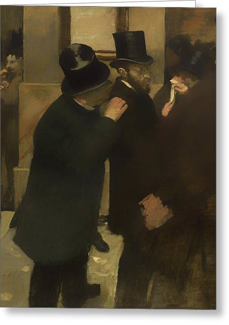 Talking Greeting Cards - Portraits at the Stock Exchange Greeting Card by Edgar Degas