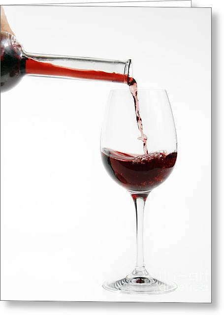 Wine Pouring Greeting Cards - Pouring Red Wine Into Glass Greeting Card by Patricia Hofmeester