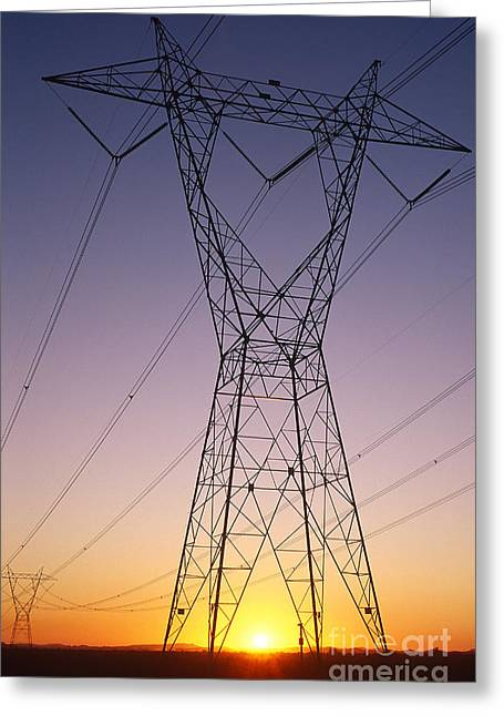Electric Pylon Greeting Cards - Power Lines Greeting Card by Jim Corwin