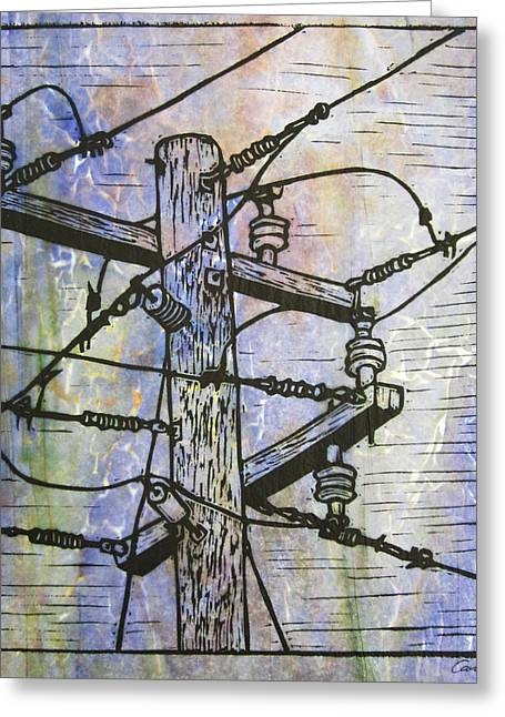 Lino Greeting Cards - Power Lines Greeting Card by William Cauthern
