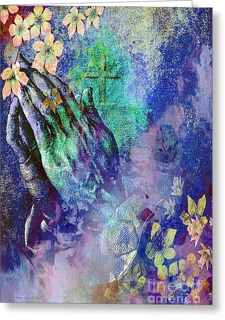 Praying Hands Greeting Cards - Praying Hands Flowers And Cross Greeting Card by Annie Zeno