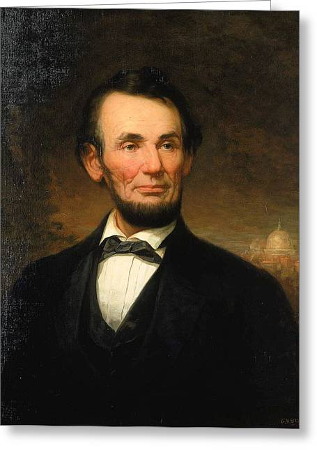 Bravery Mixed Media Greeting Cards - President Abraham Lincoln Greeting Card by William F Cogswell