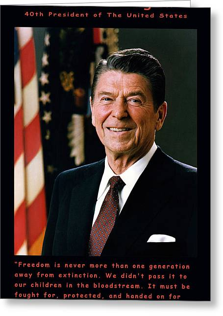 The White House Photographs Greeting Cards - President Ronald Reagan Greeting Card by Official White House Photograph