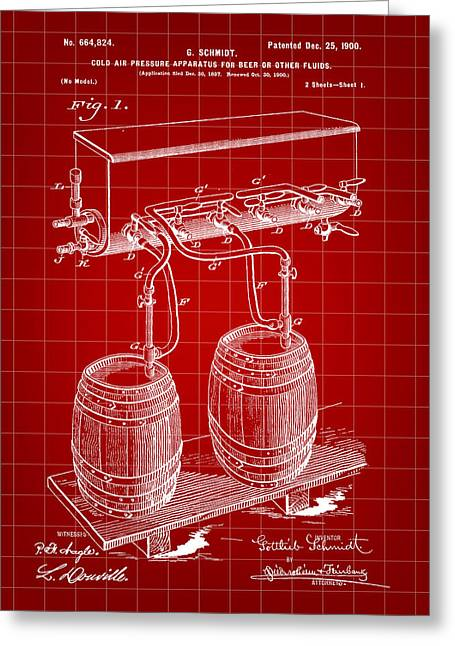 Pressure Apparatus For Beer Patent 1897 - Red Greeting Card by Stephen Younts