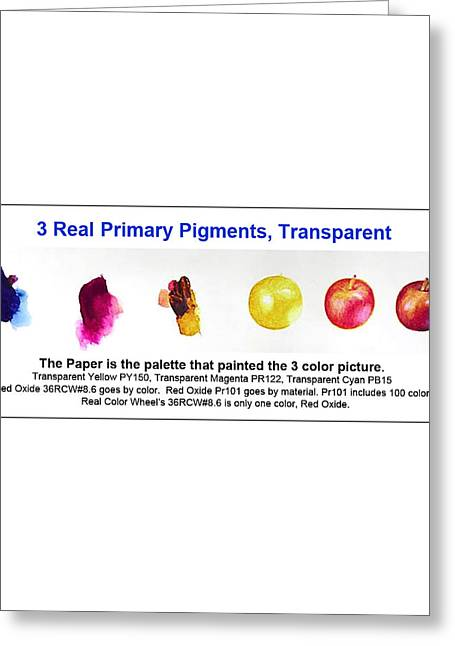 Don Jusko Greeting Cards - 3 Primary Pigments - Apple Greeting Card by Don Jusko