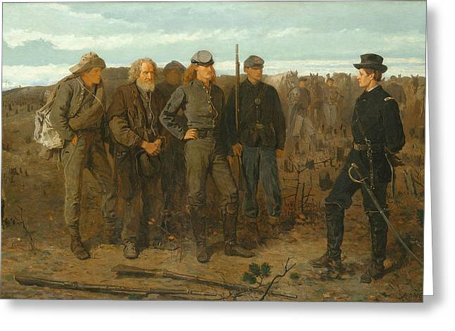 Soldiers From The Civil War Greeting Cards - Prisoners from the Front Greeting Card by Winslow Homer