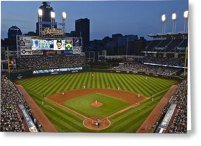 Ballgame Greeting Cards - Progressive Field Greeting Card by Frozen in Time Fine Art Photography