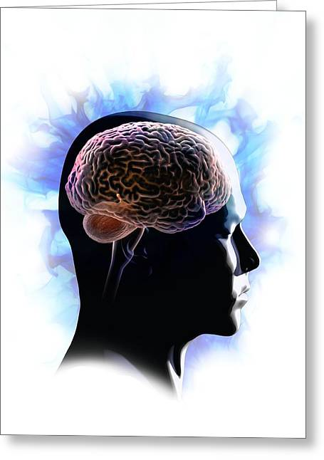 Psychiatric Greeting Cards - Psychic brain, conceptual image Greeting Card by Science Photo Library