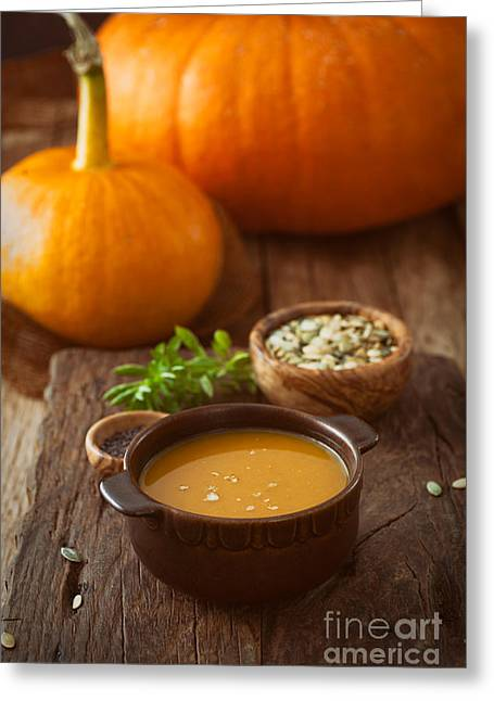 Wooden Bowl Greeting Cards - Pumpkin soup Greeting Card by Mythja  Photography