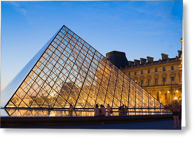 Pyramids Greeting Cards - Pyramid In Front Of A Museum, Louvre Greeting Card by Panoramic Images