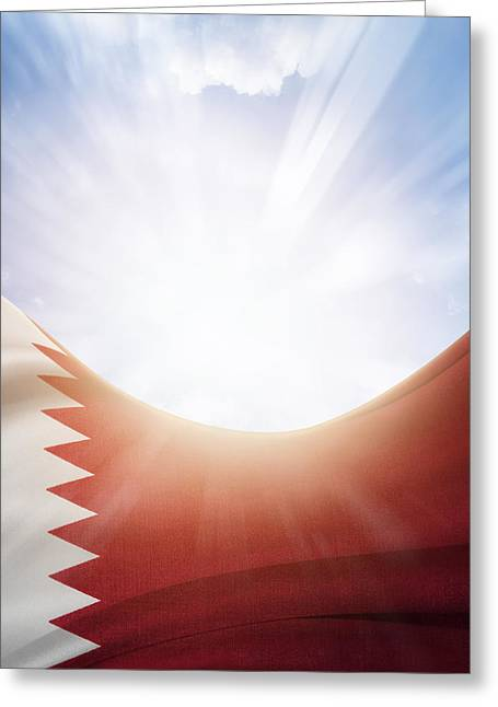Flags Flying Greeting Cards - Qatar flag Greeting Card by Les Cunliffe