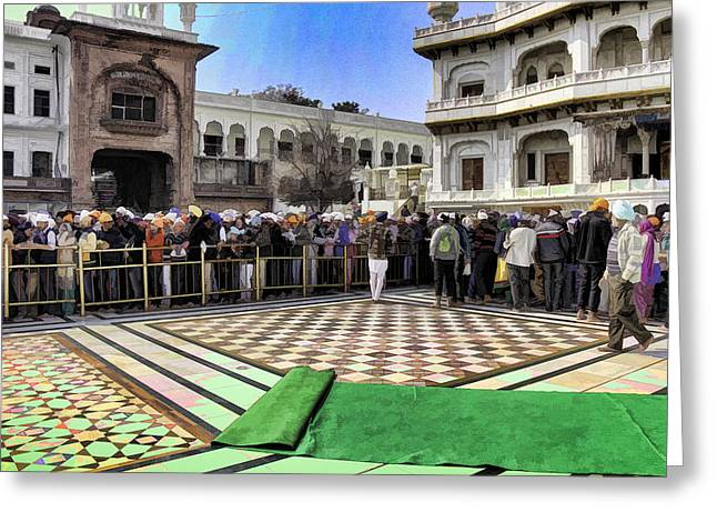 India Greeting Cards - Queue of devotees along with Akal Takht inside the Golden Temple Greeting Card by Ashish Agarwal