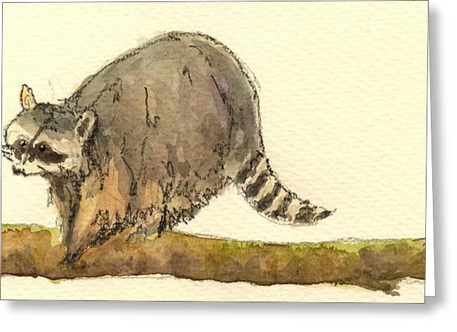 Raccoon Greeting Card by Juan  Bosco