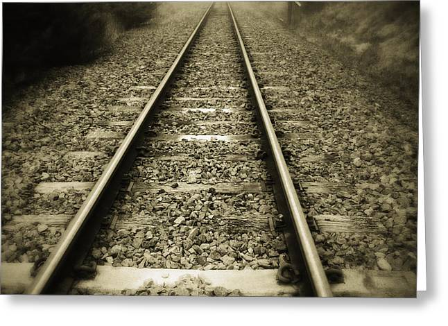 Railway tracks Greeting Card by Les Cunliffe
