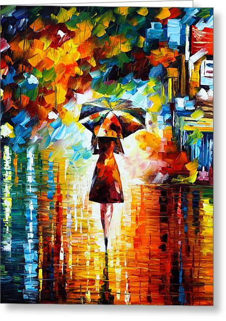 Park Scene Greeting Cards - Rain Princess Greeting Card by Leonid Afremov