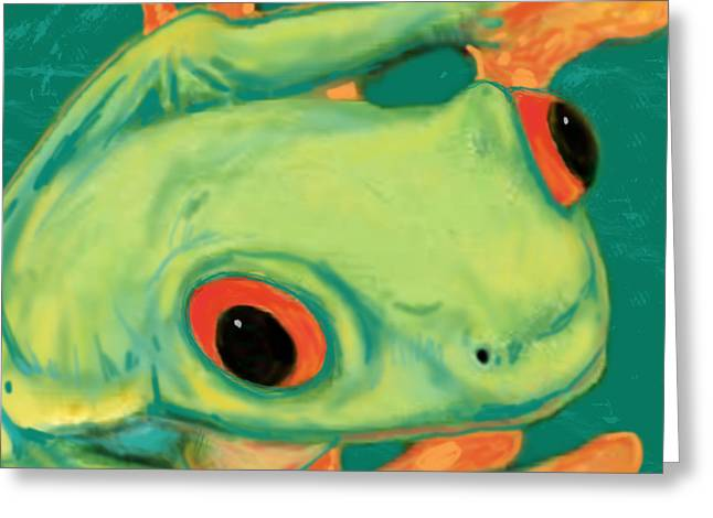 Rainforest Greeting Cards - Rainforest Frog Stylised Pop Art Drawing Portrait Poster Greeting Card by Kim Wang