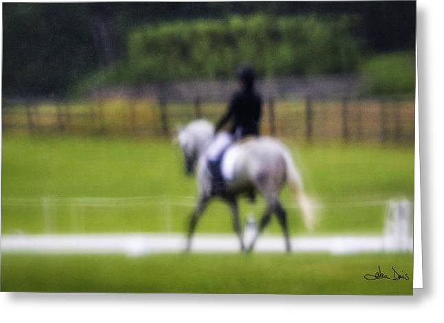Women Action Sports Art Prints Greeting Cards - Rainy Day Dressage Greeting Card by Joan Davis