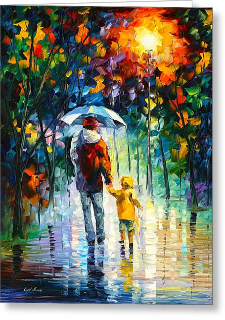 Owner Greeting Cards - Rainy Walk With Daddy Greeting Card by Leonid Afremov