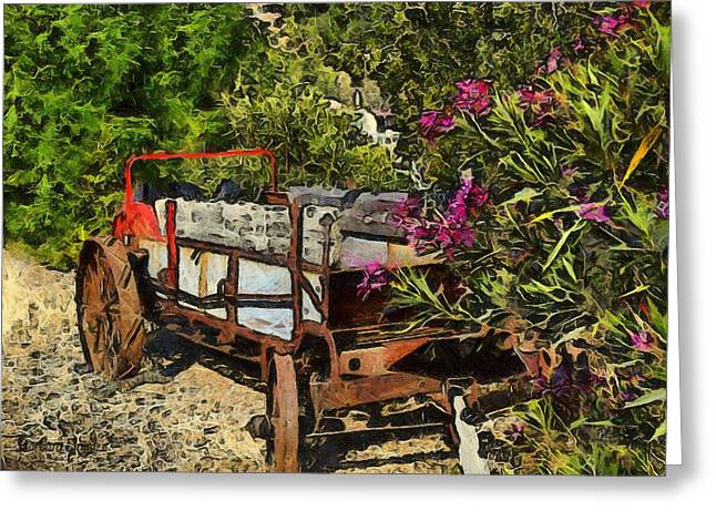 Ranch Photographs Greeting Cards - Ranch Wagon Cross Over Greeting Card by Barbara Snyder