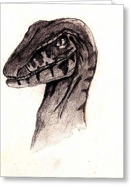 Raptor Drawings Greeting Cards - Raptor  Greeting Card by Julio Haro