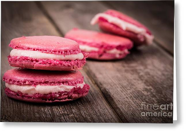 Gastronomy Greeting Cards - Raspberry macarons retro Greeting Card by Jane Rix
