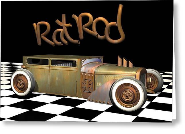 Ford Model T Car Digital Greeting Cards - Rat Rod Sedan Greeting Card by Stuart Swartz