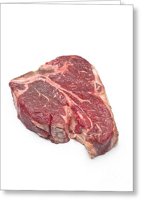 Red Meat Greeting Cards - Raw T-bone Steak Greeting Card by David Nunuk