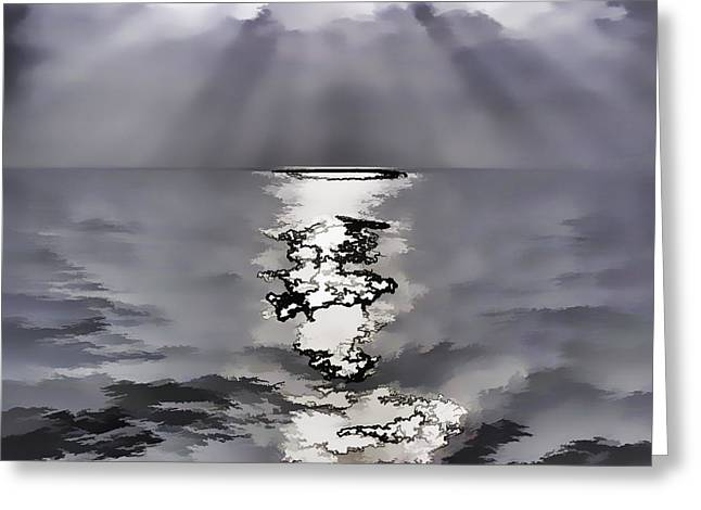 Water Greeting Cards - Rays of light shimering over the waters Greeting Card by Ashish Agarwal