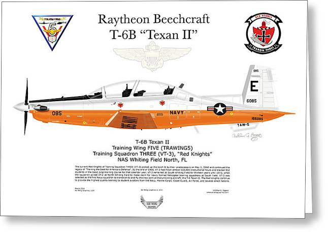 Steve Eggers Greeting Cards - Raytheon Beechcraft T-6B Texan II Greeting Card by Arthur Eggers
