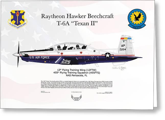 Arthur Eggers Greeting Cards - Raytheon Hawker Beechcraft T-6A Texan II Greeting Card by Arthur Eggers