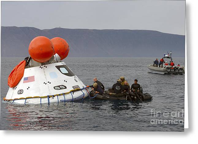 Capsule Greeting Cards - Recovery Of The Orion Crew Module Greeting Card by Stocktrek Images