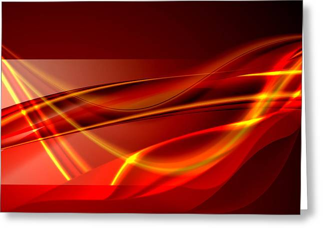Geometric Effect Greeting Cards - Red Abstract Greeting Card by Modern Art Prints