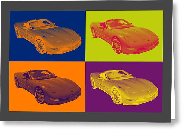 Spectacular Digital Art Greeting Cards - Red C5 Corvette convertible Muscle Car Greeting Card by Keith Webber Jr