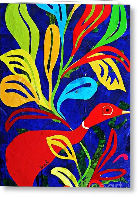Bird Collage Greeting Cards - Red Duck Greeting Card by Sarah Loft