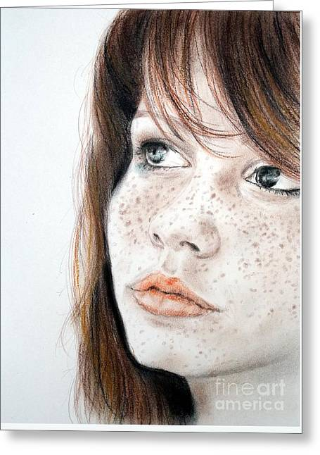 Jim Fitzpatrick Greeting Cards - Red Hair and Freckled Beauty Greeting Card by Jim Fitzpatrick