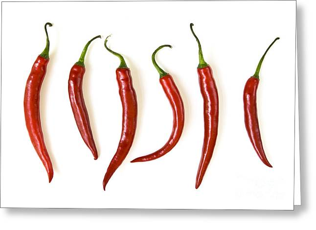 Flavor. Greeting Cards - Red hot chili peppers Greeting Card by Elena Elisseeva