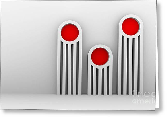 Menu Illustrations Greeting Cards - 3 Red Illuminators Greeting Card by Igor Kislev