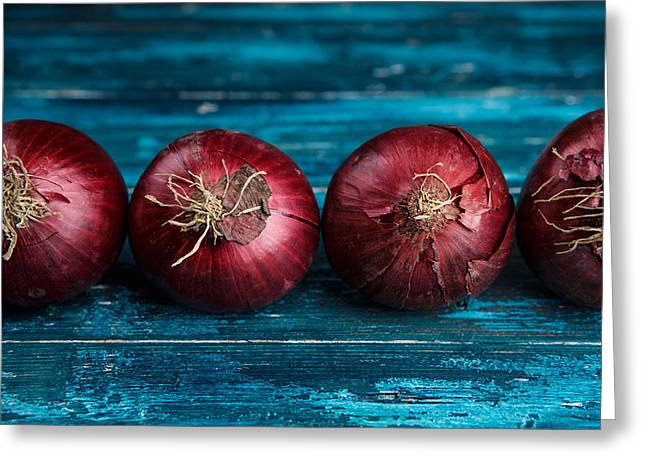 Onion Greeting Cards - Red Onions Greeting Card by Nailia Schwarz