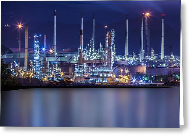 Metal Worker Greeting Cards - Refinery industrial plant  Greeting Card by Anek Suwannaphoom